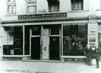 The New Canaan Post Office originally was located on the ground floor of the Raymond Building on Main Street. Photo courtesy of the New Canaan Historical Society