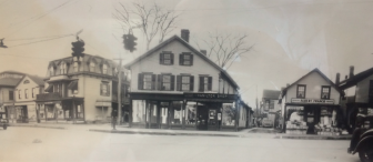 This composite from Syd Greenberg depicts the intersection of Main Street at East Avenue in the 1920s. Albert Franco's original grocer is located on the right, on the site we all know as the Varnum's Pharmacy (no more). Cody's is on the left. This is said to be the first street light in New Canaan. Photo courtesy of the Franco family
