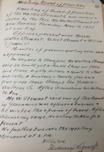 Meeting minutes from a Walter Stewart Company's Board of Directors meeting in 1927. Document courtesy of the Stewart family