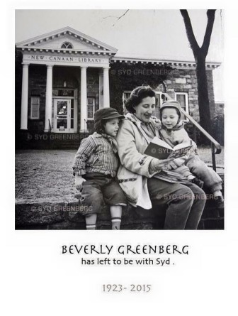 Beverly Greenberg with her children in front of New Canaan Library. Syd Greenberg photo, published with permission from the family