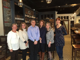"L-R: New Canaan Chamber of Commerce Executive Director Tucker Murphy and board members Christa Carr of the Glass House, Phil Williams, owner of New Canaan Music, Michelle Mauro of South End Restaurant, Board President Jenny ""Shady Lady"" Esposito of TD Bank and Rachel Lampen of HamletHub. Contributed"