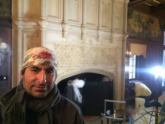 Johnn Hilares, director of restoration at Jersey City, N.J.-based Zakalak Restoration Arts. The firm is restoring the limestone fireplace in Waveny's Great Hall, with funds supplied by the nonprofit New Canaan Preservation Alliance. Credit: Michael Dinan