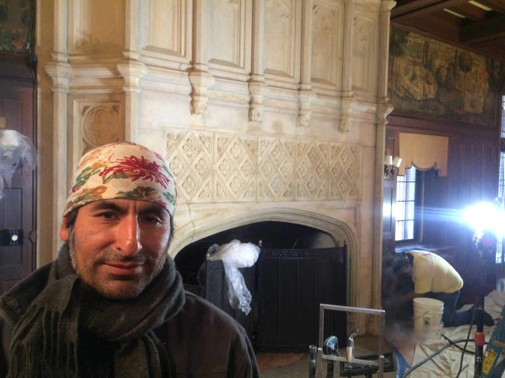 Fireplace Jersey City  Johnn Hilares, director of restoration at Jersey City, N.J.-based Zakalak Restoration Arts