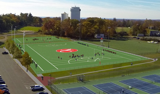A rendering of the planned new turf fields at New Canaan High School.
