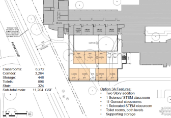 A look at Option 3A, a conceptual plan that would see a two-story addition built onto the northwest corner of Saxe Middle School. Credit: S/L/A/M Collaborative of Glastonbury
