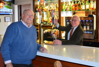 From left, Bailey Stewart, Historical Society President, and Sperry Decew, Celebrity Guest Bartender, pictured at Barolo in New Canaan. Contributed