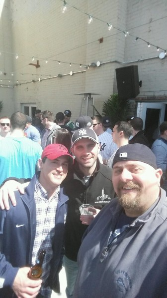 Joe's Pizza owner Lorenzo Colella (R) at Bill's Sports Bar across from Yankee Stadium on Opening Day this week. He's with BJ Jones and Mike DeMasi—all are NCHS grads. The gang saw the Yanks lose, but drowned their sorrows in good food afterwards (at Emelia's on Arthur Avenue—nice).