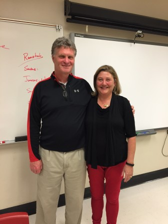 NCHS Athletic Director Jay Egan and All Sports Booster Club President Tracey Karl.