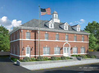 Planned Post Office for 18-26 Locust Ave. in New Canaan. Rendering by James Schettino Architects