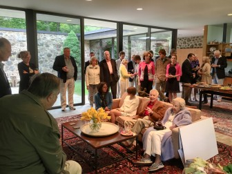 New Canaan's Jim Fowler (foreground) addresses the New Canaan Land Trust. Lyn Chivvis photo