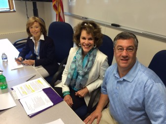 L-R: Board of Education Chair Hazel Hobbs, Dede Bartlett of the New Canaan Domestic Violence Partnership and First Selectman Rob Mallozzi on June 29, 2015. Credit: Michael Dinan