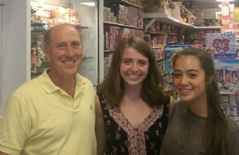 Chris Kilbane, Avery Salomon and Jordan Smith of New Canaan Toy Store. Credit; Jes Sauerhoff