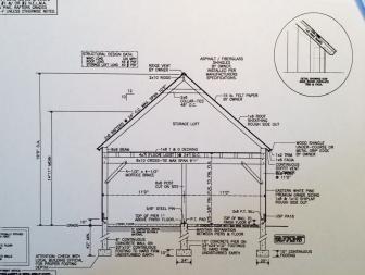 Part of a site plan for a proposed 2-car, freestanding garage at 366 Ponus Ridge.