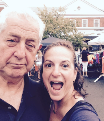 John Buzzeo and Carolyn Miller at the 2015 Sidewalk Sale in New Canaan, July 18. Selfie by Carolyn