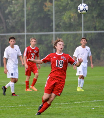 Alex Hutchins on the soccer pitch for the NCHS Rams. Contributed