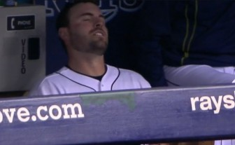 Rays catcher Curt Casali in visible pain in the Rays' dugout after injuring his leg running out a home run on Tuesday, August 25, 2015. Photo: Contributed