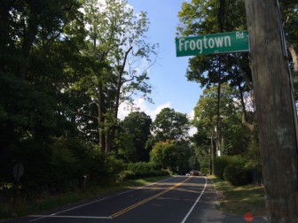Looking up Ponus Ridge at Frogtown Road in New Canaan. The history of 'Frogtown' is a fun one—look it up! Credit: Michael Dinan