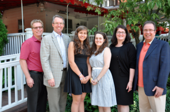 L-R: Eric Fjeldal, Past President of the Rotary Club of New Canaan, John Bemis, President, Sandra Bousignac, Caileigh Murray, Ann Cheney and John Marlow, chairpersons of the Rotary Exchange Program. Contributed
