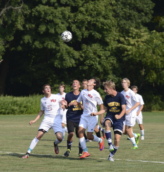 The NCHS Rams varsity boys soccer team scrimmages vs. Weston in the preseason. Photo by Christine Betack