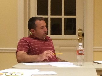 Ping Pong runner-up Jason Milligan at the Sept. 9 Park & Recreation Commission meeting. Sources say it wasn't clear based on the championship match with Emad Aziz whether Milligan had his eyes open during play. Credit: Michael Dinan