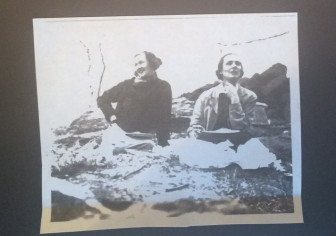 Dorothy Moore Burnham, right, and Beatrice More, later married to Frank Barker Chase. Sitting on rocks to the south of the house at 1328 Smith Ridge road. Dorothy and Addison had bought it but not yet moved in. The year was 1935 and Dorothy was 36 years old. Contributed
