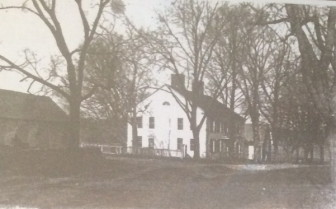 """From a story board prepared by Jennifer Holme: """"The Comstock House on Smith Ridge, just south of the New York State line in New Canaan, Conn. The view is looking north. There were three families living in it when Dorothy (Docie) and Addison Burnham bought it. Docie remembers that the house, land and associated barns cost about $20,000. The photo was taken in 1936 just before the sale. The house had two huge chimneys and many fireplaces. Part of the house goes back to 1782. Some time around 1812 and 1813 it was enlarged to roughly the same size seen here. At one time it was owned by Samuel Comstock. When Docie and Addison bought it, and for another 22 years, several neighboring dairy farmers still cut the surrounding fields for hay for their herds. This meant the sloping field across the swampy area to the west of the house was wonderful for winter coasting."""""""