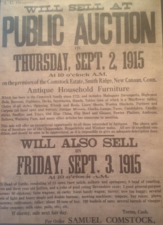 Notice of a Public Auction for the home and items of 1328 Smith Ridge Road, an 18th Century home that, until that point, had been the property of the Comstock family. On Saturday, Sept. 12, 2015, the home's current owners and residents, Jennifer Holme and David Markatos, hosted members of families that had occupied the house from the 1930s through 1970s for a remembrance and story-sharing get-together. Contributed