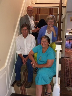 Back row: Taxi Smith and Choux Smith. Front row: Patrick Smith and his wife, Bet Zimmerman Smith, at a party in September 2015 that marked 100 years to the month since the property was auctioned off the home and items at 1328 Smith Ridge Road, which had at that time been in the Comstock family for nearly 200 years. Contributed