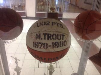 The ball celebrating Monroe Trout's career scoring mark. Credit: Terry Dinan
