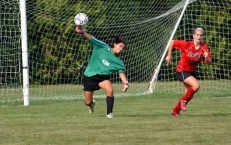 Goalie Katie Donovan, a captain of the 2015 New Canaan High School girls varsity soccer team. Photo by Amy Murphy Carroll