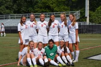The seniors of the 2015 New Canaan High School girls varsity soccer team. Photo by Amy Murphy Carroll