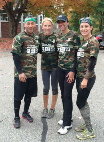 Anthony Crowder, Diane Knetzger, Jessica Sepulveda and Lisa McDonnell of Bankwell participate in the Oct. 18 Family Warrior Mud Run in New Canaan. Contributed