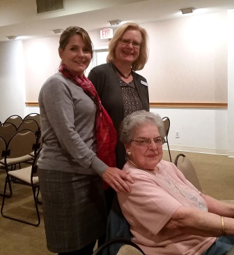 Mary Tiani, at her retirement celebration with Lisa Oldham, Executive Director (left) and Lauren Phillips, Head of Collections Management. Contributed