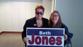 Selectman Beth Jones (R), with longtime friend Patricia Russo, Director of the Women's Campaign School at Yale, on Election Day 2015. Contributed