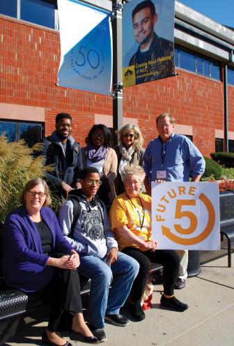 Front row: Ann Rogers, executive director of the Norwalk Community College Foundation, Future 5 student Trevon and Future 5 coach Martha Cook. Back row: F5 students Stanley and Michelle, Future 5 coach Julie Horowitz, and Future 5 founder & executive director Clif McFeely. Contributed