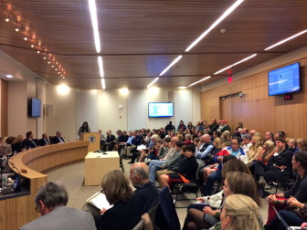 A standing room-only crowd of more than 150 people packed into the Town Meeting Room for the Nov. 10, 2015 Board of Finance meeting. The main agenda item was the proposed expansion of Saxe Middle School. Credit: Michael Dinan