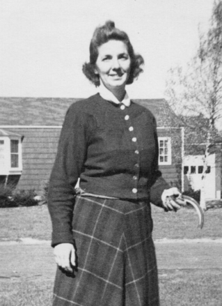 Audrey Stewart in front of the family's Gower Road home. Photo courtesy of the Stewart family