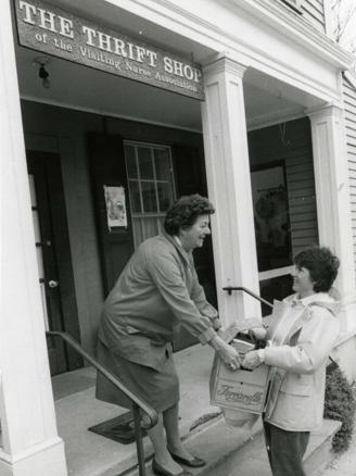 Audrey Stewart (L) at The Thrift Shop. Photo courtesy of the Stewart family