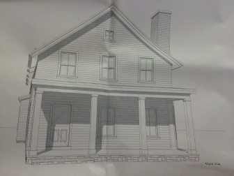 Rendering of planned new home for 335 Jelliff Mill Road. Specs by James Schettino Architects