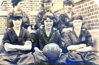 Rose Karl (center) was a star of the Stamford High School basketball team. Photo courtesy of the Karl family