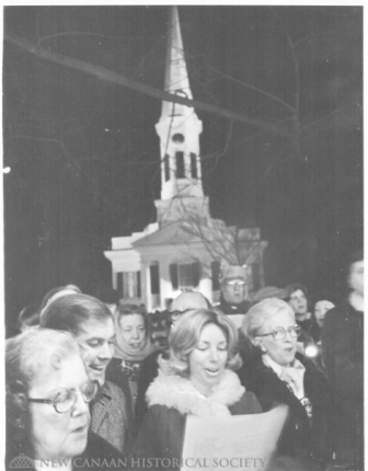 Caroling at God's Acre. December 30, 1976. John Bukovcik photo, courtesy of the New Canaan Historical Society
