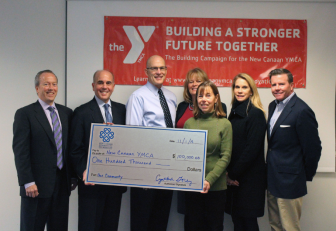 L-R: Leo Karl (NCCF President), Peter Skaperdas (Y Board President), Craig Panzano (Y Executive Director), Janet Lanaway (in back), Cynthia Gorey (NCCF Executive Director), Diane Hanauer, and Tom Cronin. Contributed