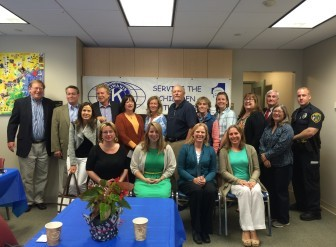 Members of the Kiwanis club and those who were granted allocations for their organizations pose for a photo after the breakfast. Photo by Mackenzie Lewis