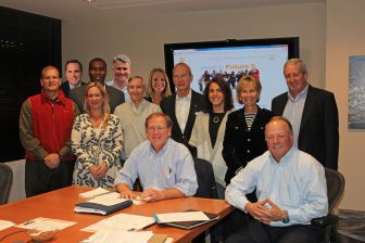 Future 5 Board members: sitting L-R: Clif McFeely, Future 5 founder & executive director, Andrew Ashforth. Front L-R: Christopher Wright, Cindy Ziegler, Tom Turrentine, Frank Lyon, Kim DePra, Board Chairman Polly Perkins Johnson, David Schirmer. Back L-R: Tom Beusse, Jamere Jackson, Jack Loop, Jessica Lee.