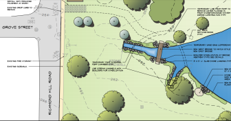 A detail of a plan to complete the Gold Star Walk at Mead Park, a footpath with trees, a plaque, benches and one footbridge now in place that's dedicated t the memory of the 38 New Canaanites who died during World War II. Courtesy of Keith Simpson Associates