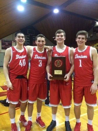 Chandonnet (#1) poses with fellow Denison freshmen after winning the NCAC championship on Saturday, Feb. 27, 2016. Credit: Contributed
