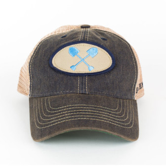The adult-sized Beachmate hat, branded with the crossed-shovels logo, costs $23 at MyBeachmate.com. The youth size costs $20.
