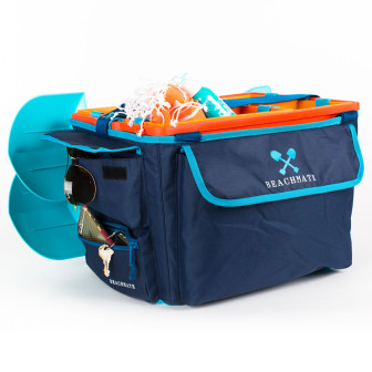 The Beachmate system includes pouches and pockets in the tote bag.