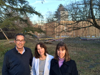 L-R: Arnold Karp, Julia Portale and Cynthia Gorey stand by the site of Fairfield County Hospice House in Stamford on March 1, 2016. Credit: Michael Dinan