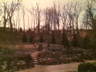 A view of the Grace Farms property from the backyard at 1218 Smith Ridge Road. Contributed